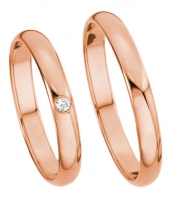 Eheringe rotgold am finger  Ring-Finger - Trauring-Paar No.1009 / 3mm 585 Rotgold